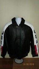 Medium Oscar Piel Perfect Genuine Leather USA American Flag Jacket United States