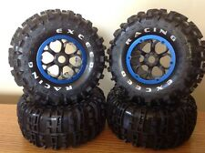 "1/8 RC Exceed Rock Crawler Wheels Tires Blue 2.8"" Beadlocks 17mm hub"