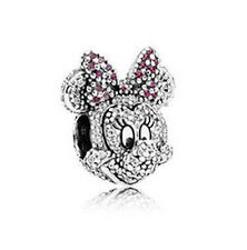 CZ MINNIE MOUSE 925 Sterling Silver Solid European Charm Bead for Bracelet