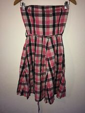 H&M Strapless Dress Size 14 Pink Black Check Metallic Thread  R9221