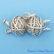 HEAVY KNITTING NEEDLES AND YARN BALLS 3D .925 Solid Sterling Silver Charm