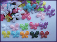 200 Mini Padded Shiny Butterfly Appliques/Trims/doll-10 Colors AB005