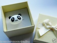 CUTE PANDA ADJUSTABLE SILVER RING WITH GIFT BOX, HANDMADE JEWELLERY