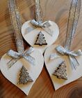 3 X Handmade Christmas Decorations Shabby Chic Wood Heart Tree Bows Silver