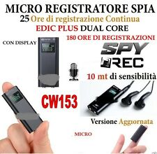 MICRO REGISTRATORE AUDIO VOCALE CON DISPLAY 8 GB SPY MINI AMBIENTALE USB CW153