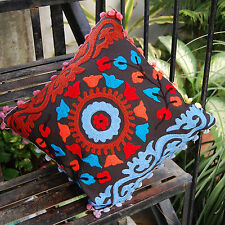 Christmas Bells Suzani Cushion Covers Cotton Pillow Cases Indian Embroidery AB3