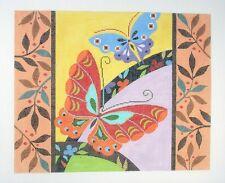 **New** LEE Butterflies with Border handpainted Needlepoint Canvas 18 mesh