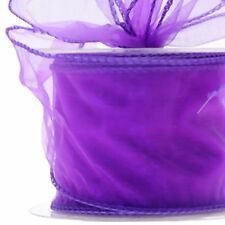 Organza Ribbon piece Sheer Wired edge 5cm wide Floristry Craft by metre colours
