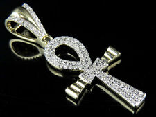 Men's 10K Yellow Gold Real Diamond Designer Cross Pendant Charm 0.30ct 1.5""