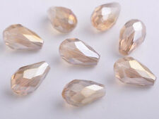 20pcs 10x15mm Charms Faceted Glass Crystal Teardrop Spacer Loose Beads Findings