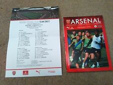 ARSENAL V SWANSEA PROGRAMME AND TEAM SHEET MINT PLAYED MARCH 2ND 2016