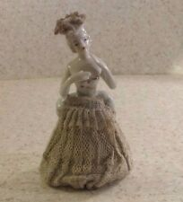 Vintage Porcelain Lace Dress Woman Figurine WHITE AND GOLD GILT Made in Japan 5""