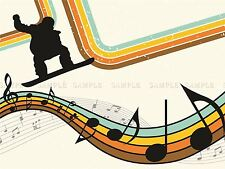 PAINTING ABSTRACT SNOWBOARDING MUSIC RETRO COLOURS POSTER PRINT BMP10184