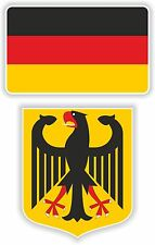 GERMANY flag + coat of arms 2x stickers decals Flagge