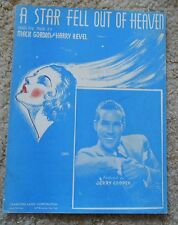 A Star Fell Out of Heaven - Jerry Cooper - Sheet Music 1936