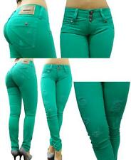 SEXY REAL COLOMBIAN LEVANTA COLA LOLA SKINNY BUTT LIFTER JEANS SEA GREEN