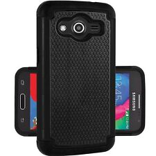 Samsung Galaxy Core LTE SM-G386W Heavy Duty Dual Layer Hybrid Case - Black