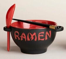 Ramen Noodle Bowl Set Asian Japanese Chinese Hot Soup Red w/ Spoon Chopsticks