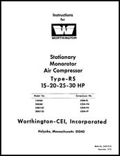 Worthington RS 15-20-25-30 HP Air Compressor Manual