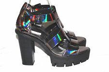 TOPSHOP LUCIFER METALLIC STRAPPY CHUNKY HEELS PLATFORM SANDALS SHOES UK 7