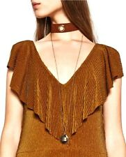 BOHO BROWN FAUX SUEDE LONG GOLD CHAIN TWO LAYER CHOKER NECKLACE SET - UK SELLER