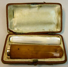 ANTIQUE ABALONE & BUTTERSCOTCH AMBER CIGARETTE & CIGAR HOLDERS - GOLD MOUNT