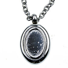 Oval Memorial Cremation Jewelry Urn Necklace for Ash 24 inch Chain, Filling kit