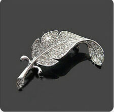 Charm Women Silver Plated Crystal Leaf Pin Brooch Women Wedding Bridal Jewelry
