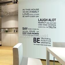 Love Family Rules Removable Quote Art Wall Sticker Vinyl Decal Mural Home Decor