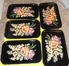 "Vtg Metal Trays Platters Party Serving Floral Flowers 14"" x 8.75"""