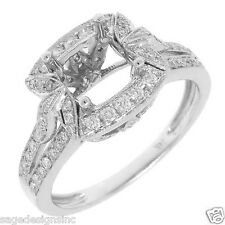6x6 MM Princess Cut Semi Mount Diamond Engagement Ring Setting 14K White Gold
