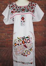 White Peasant Tunic Boho Hippie Hand Embroidered Mexican Dress Tunic Large