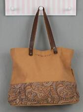 Women's Relativity Brown Canvas with Paisley Bottom Accent Tote Bag GUC