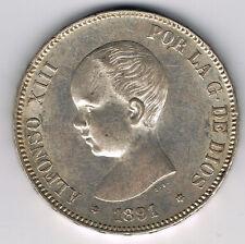 ESPAGNE - ALFONSO XIII - 5 PESETAS argent 1891 (91) P.G  .M. - réf 16 77 6 -