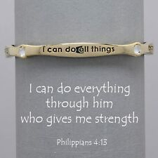 Philippians 4:13 Bracelet Stretch Rhinestone Strength Do GOLD Religious Jewelry