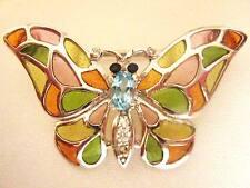 Argento Sterling Rosa Verde Arancione Vetro Farfalla Bug 2 in 1 Spilla Ciondolo