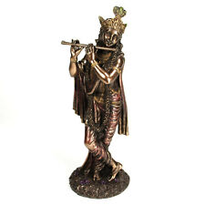 "KRISHNA STATUE 9.5"" Hindu Indian God Bronze Figure HIGH QUALITY Flute Deity NEW"