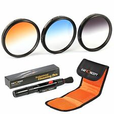 K&F Concept 52mm Graduated Color ND Grey Blue Orange Lens Filter Kit For Nikon