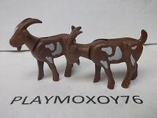 PLAYMOBIL ANIMALES. LOTE DE DOS CABRAS MARRONES..