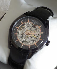 Rotary Men's Automatic GS03630/04 Skeleton Black Plated Swiss Watch RRP £269 NEW