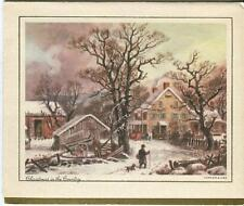 VINTAGE CHRISTMAS IN THE COUNTRY COLONIAL HOUSE PORCH FARM DOG BARN CARD PRINT