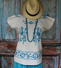 Blue & White Hand Embroided Birds Huipil, Huautla Oaxaca Mexico Hippie Boho