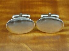 Vintage ANSON Oval Shape Smooth Sterling Silver 925 CUFFLINKS