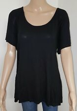 Ladies size 16 Black Evening Top Cross Back Womens Short Sleeve Detailed T-Shirt