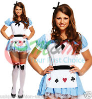 NEW LADIES ALICE IN WONDERLAND OUTFIT FANCY DRESS COSTUME WOMANS FAIRYTALE CARDS