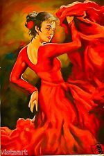 """24""""x36"""" Hand Painted Oil on Stretched Canvas-Tango Dancer"""