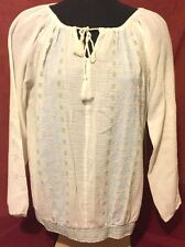 Ruff Hewn Large Women's Cream Long Sleeve Cotton Peasant Top Tunic Blouse