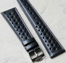 Heuer Autavia black original 20mm vintage strap 1960s/70s NOS with Heuer buckle