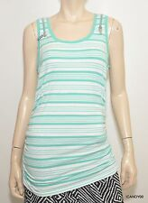 Nwt Michael Kors Zip Shoulders Ruched Stripe Tank Top Shirt Blouse Tunic Aqua M