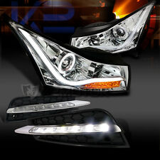 11-14 Chevy Cruze Halo LED Chrome Projector Headlights+SMD LED DRL Fog Lights
